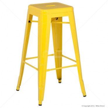 Vintage Metal Cafe Bar Stool - 75cm - Yellow - Buy Yellow Bar Stool & Vintage Metal Cafe Furniture - Milan Direct