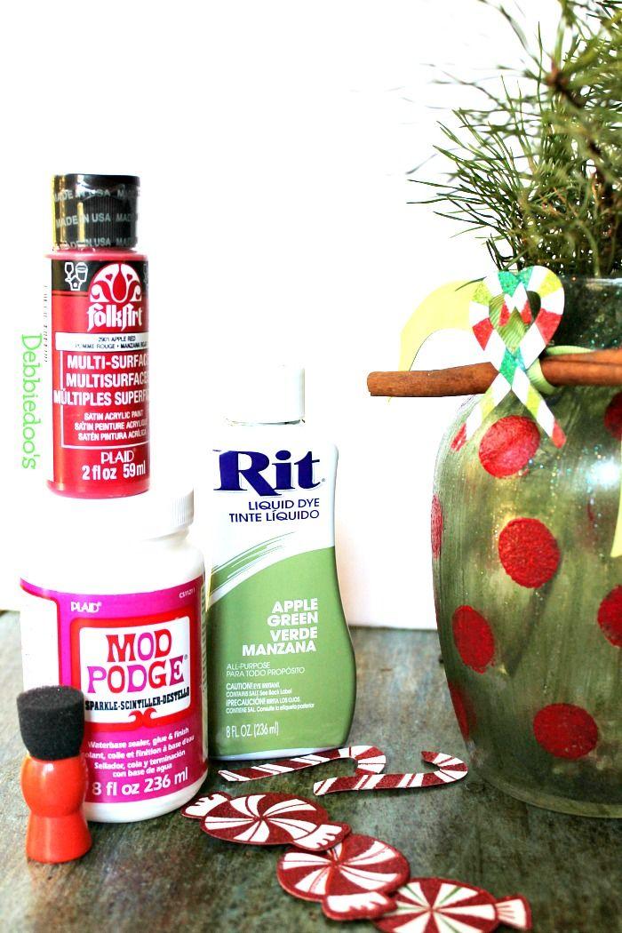 DIY Christmas Vase W/Sparkle Mod Podge / Debbiedoo's