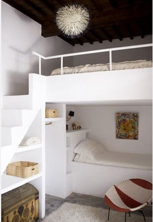 Nursery Notations: Bunk Room. Although I would change the accessories, this idea is a great one. If we had a guest room with enough ceiling height... I love the storage under the stairs. This is better than ladders, but you have to have the space for it.