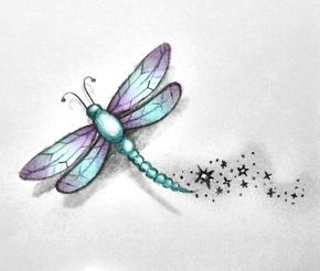 Small Dragonfly Tattoos | Dragonfly Tattoo Sketch by  MissMadnesss Love the coloring!