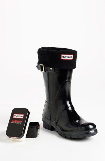 Hunter 'Original Short' Gloss Rain Boot, Fleece Welly Socks & Instant Boot Shine Sponge | Nordstrom