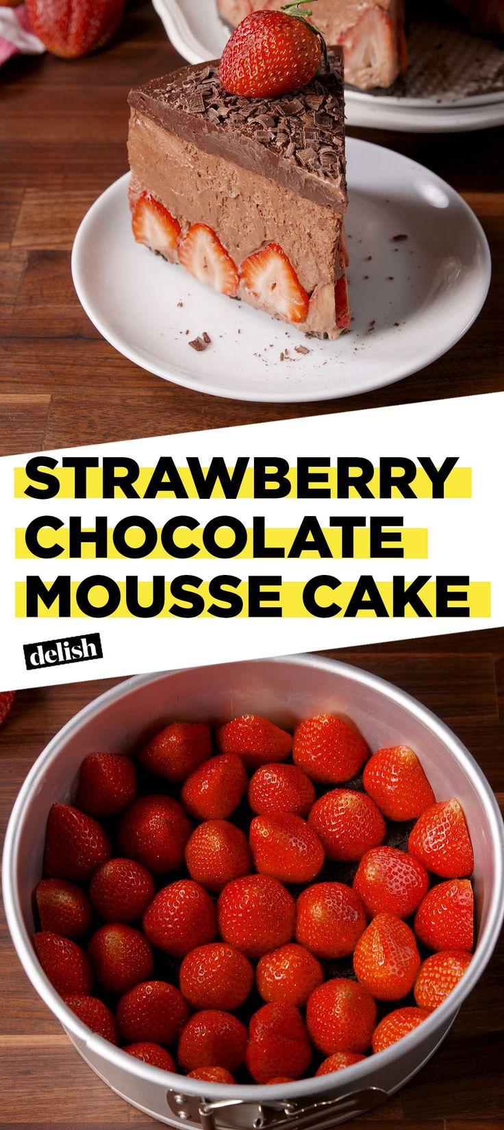 If you love chocolate covered strawberries then this cake is for you. Delish