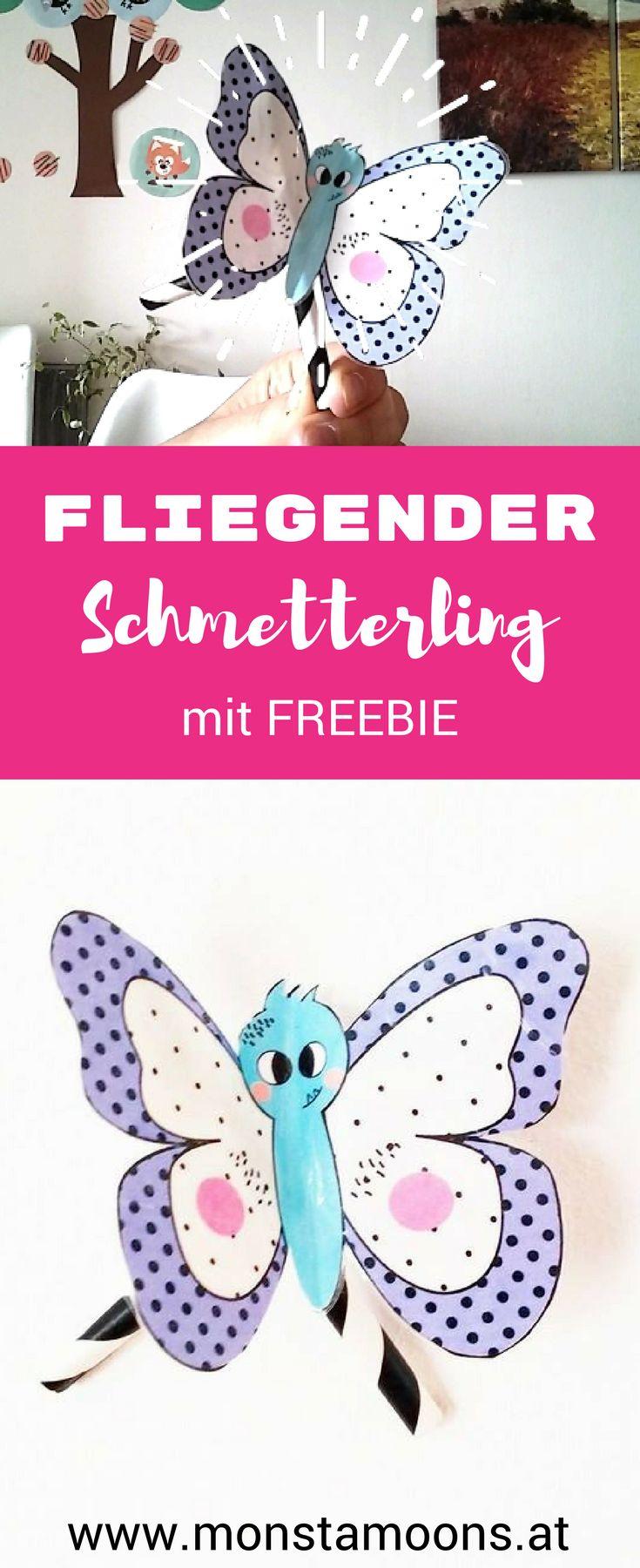 Monstamoons, Schmetterlinge basteln, DIY butterfly, fliegender SChmetterling, Basteln für den Frühling, spring crafts, butterfly crafts, summer crafts, Sommer Basteln