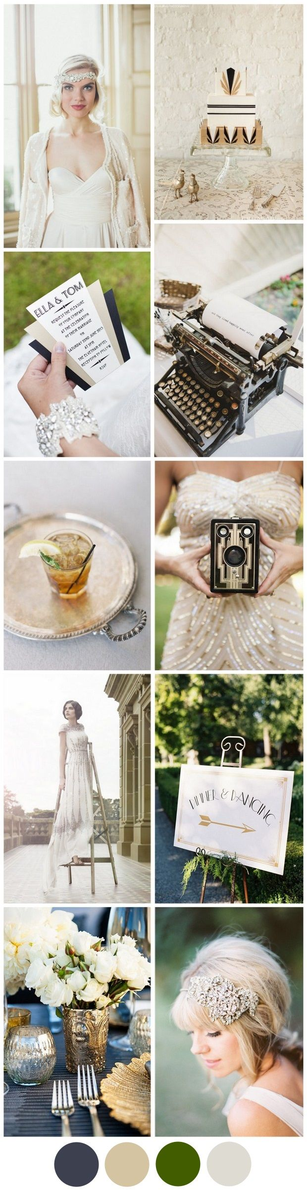 Get set for all things opulent with this gorgeous Gatsby wedding palette full of awesome Art Deco ideas.