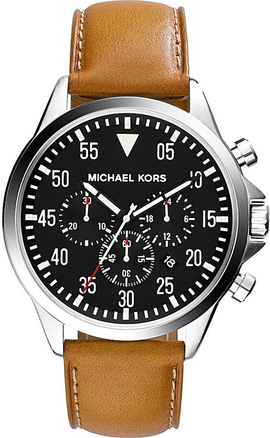 Michael Kors Gage Leather Chronograph Watch - for Men