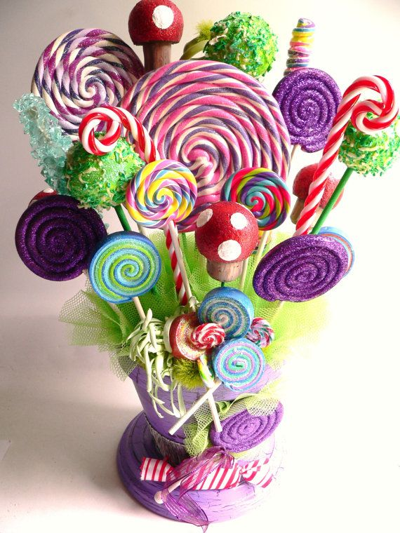 Fake candy centerpiece lollipops rock cake pops