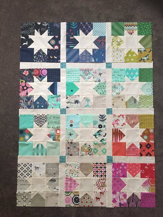 Cotton and Steel Charm Square Star quilt top | Vanessa
