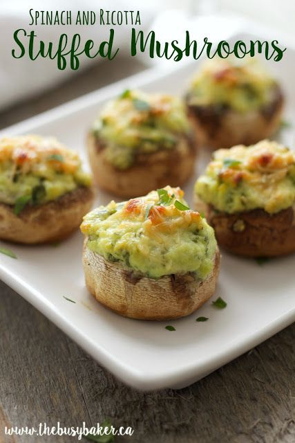 """These deliciously creamy spinach and ricotta stuffed mushrooms make the perfect one-bite snack or appetizer! Hungry for more? Follow me! Like my page on Facebook!  Subscribe! Click here to get free recipes by email! It's not very often I get to enjoy a swanky party with """"adult"""" food anymore. I know, that probably sounds..."""