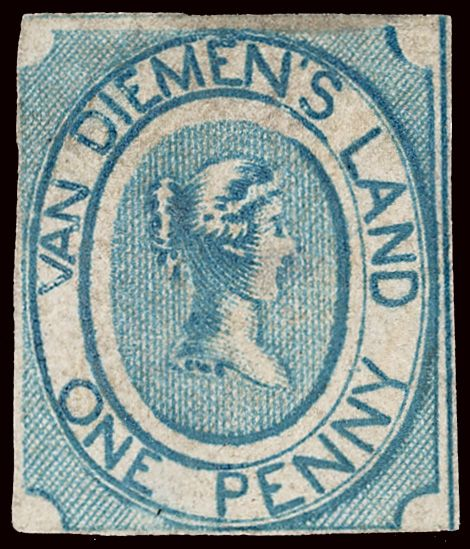 1853 The first stamp of Van Diemen's Land.(Tasmania)