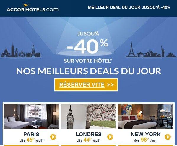 Accor Hotels pas cher Réservation : Jusqu'a -40% sur votre hotel
