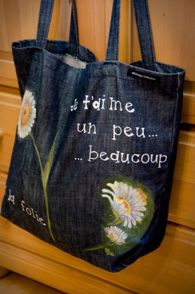 Peint à l'Atelier Déco-Cadeau, Saint-jean-Chrysostome,Lévis  #bag #sac #peinture #paint #tissu #textile #word #fleur #flowers