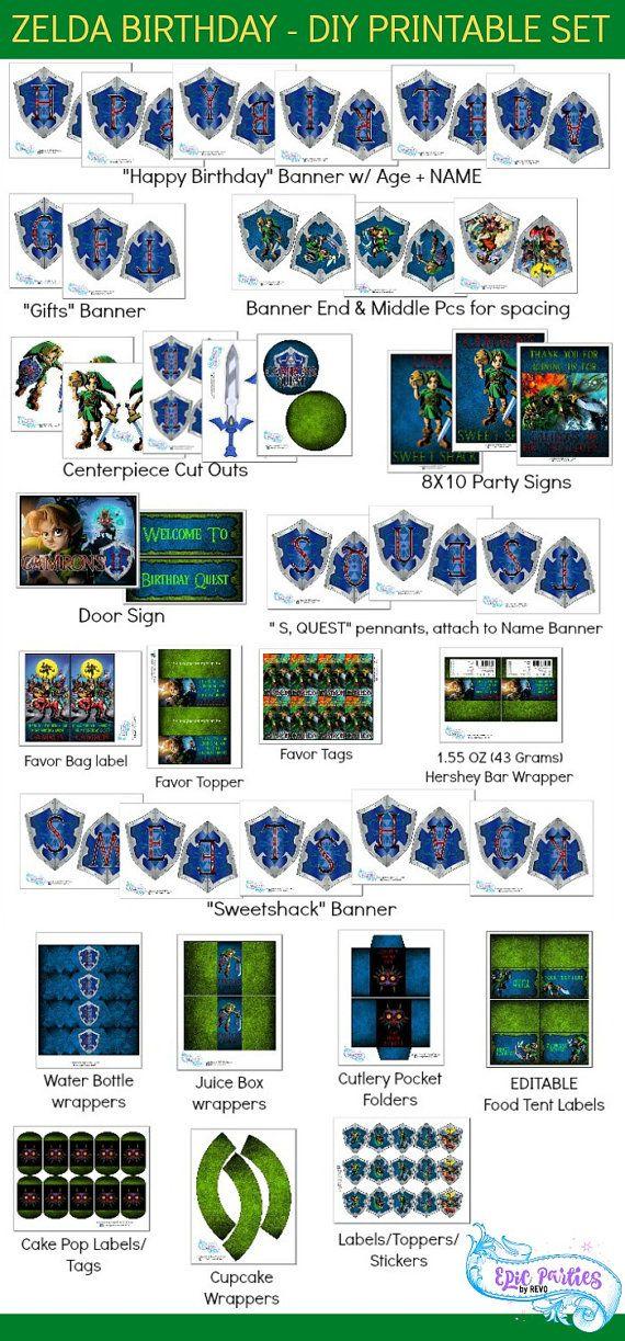Zelda Birthday Party  Zelda Party Printable  by EpicpartiesbyREVO