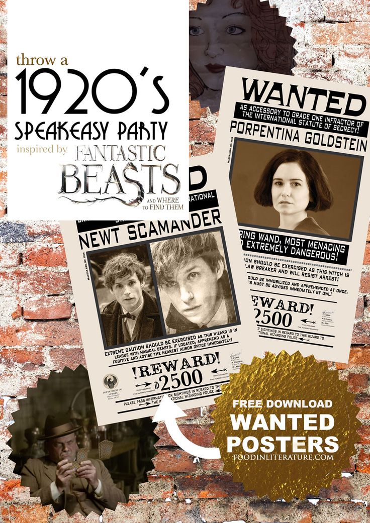 Throw a 1920's speakeasy party inspired by The Blind Pig in Fantastic Beasts & Where To Find Them. Decor inspiration, recipes & free download wanted posters