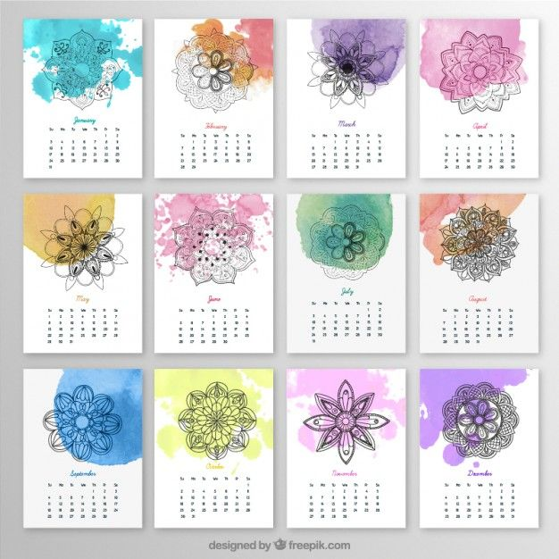 Calendrier annuel avec mandalas et les éclaboussures d'aquarelle Vecteur gratuit