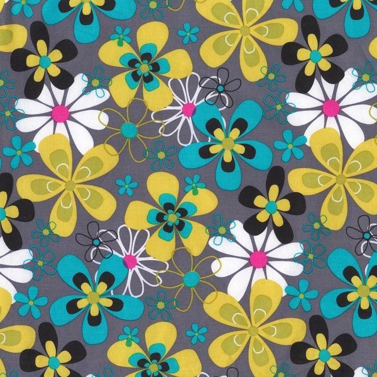 Cx3372 Far Out Floral Flowers Multi Gray Citron Fabric