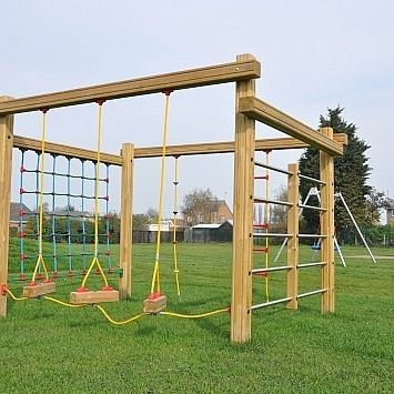 This Multi Play Playground Equipment Includes A Net Climbing Frame And Allows Multiple Children To