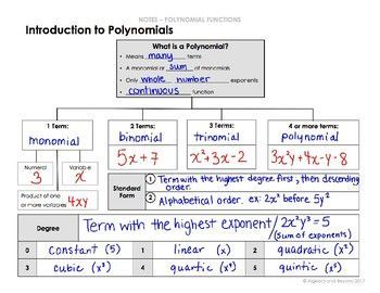 Introduction to Polynomials Lesson - defining a polynomial and the classification by degree and number of terms.
