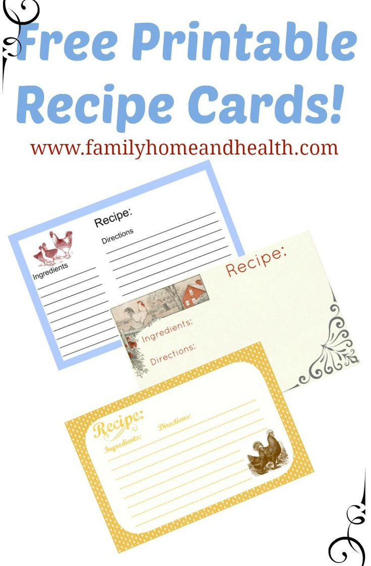 Free Printable Recipe Cards-3 Different Chicken Designs