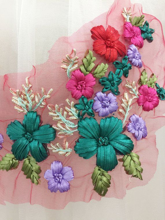 2x Ribbons Embroidery Flower Applique DIY Clothes Dress Embellishment Pink