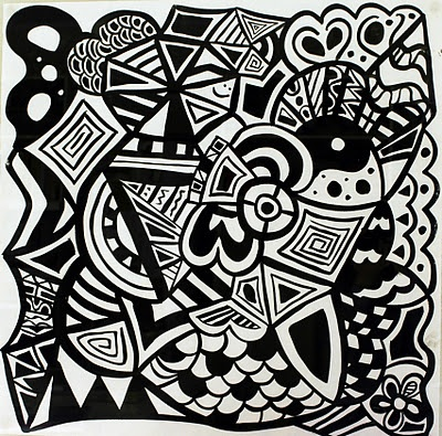 EVERYTHING IS BLACK OR WHITE  size: 70x70 cm, ink on paper