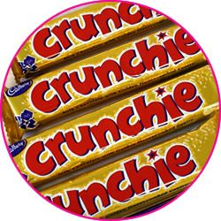 Cadbury's Crunchie   Get that Friday feeling!   Sweet crunchy honeycomb wrapped in creamy cadburys milk chocolate - a Cadburys classic that after all these years is still incomparable to anything else.