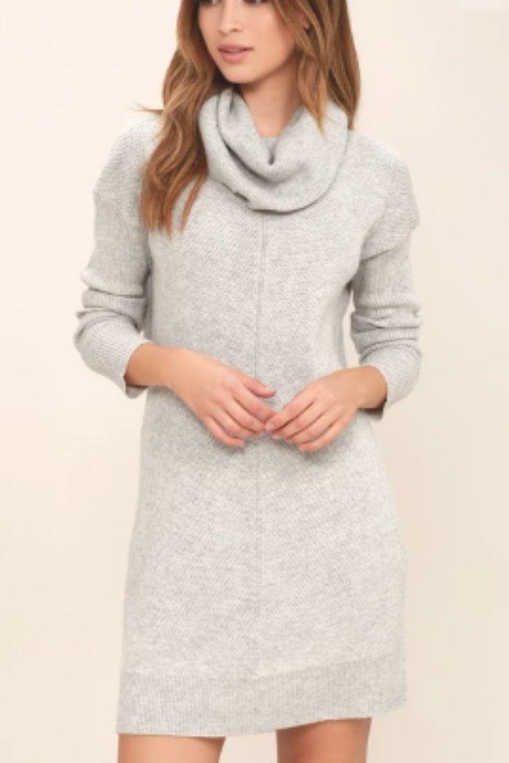 067e9601e06 Light gray sweater dress, LULUS. Soft, medium weight knit. Ribbed at ...