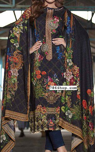 Navy Blue Twill Linen Suit | Buy Zara Ali Pakistani Dresses and Clothing online in USA, UK