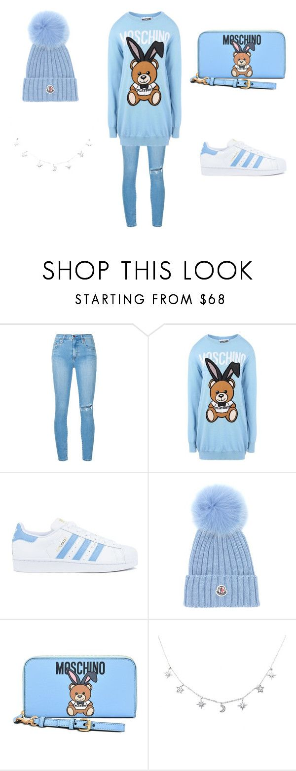 """#07"" by mihdong on Polyvore featuring moda, Nobody Denim, Moschino, adidas e Moncler"