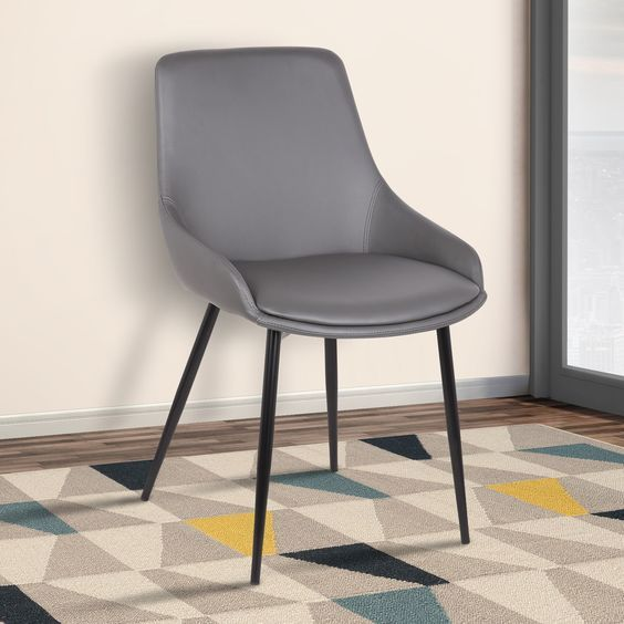 Armen Living Mia Contemporary Dining Chair with Black Powder-coated Metal Legs