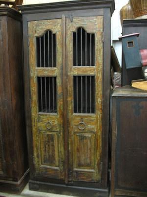 On Ebay Antique India Reclaimed Teak Iron Bar Cupboard Cabinet Old Door Jali Indian