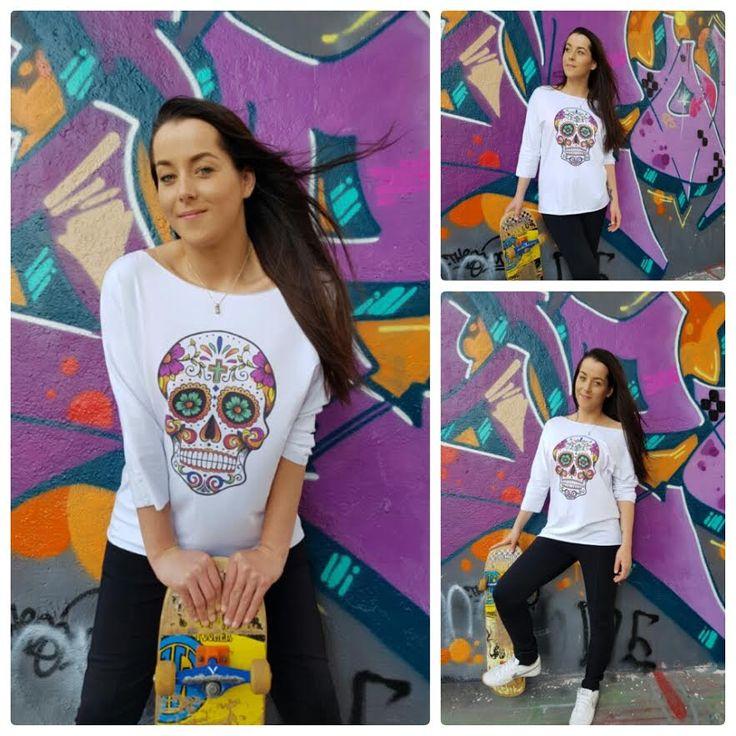 Witte blouse met sugar skull – Amsterdam Tattooing
