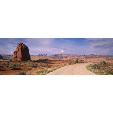Road Courthouse Towers Arches National Park Moab UT USA Canvas Art - Panoramic Images (36 x 12)