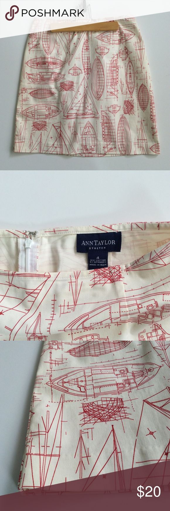 """[Ann Taylor] Nautical Boat Schematics Skirt Nautical skirt from Ann Taylor. Stretch. White / off-white / natural color with red illustrated boat blueprint / schematics design. Size 4. Measures 13.5"""" across waist, while flat, and 18"""" in length. Ann Taylor Skirts"""