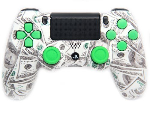 "This is our ""Green Money"" PlayStation 4 Modded Controller. It is a perfect gift for a special gamer in your life. Order yours today at: http://moddedzone.com/ You can also visit our eBay store at: http://stores.ebay.com/moddedzone/"