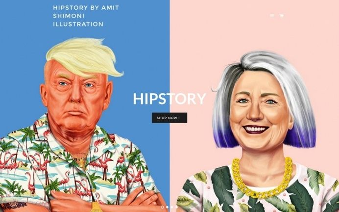 Hipster clinton trump illustration colorful modern cool best beauty beautiful new style trend typography type typdesign black white mindspar in Websites We Love
