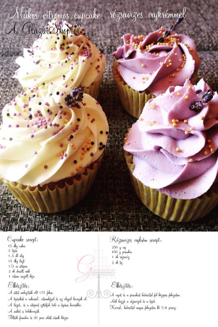 Mákos citromos cupcake, rózsavizes vajkrémmel