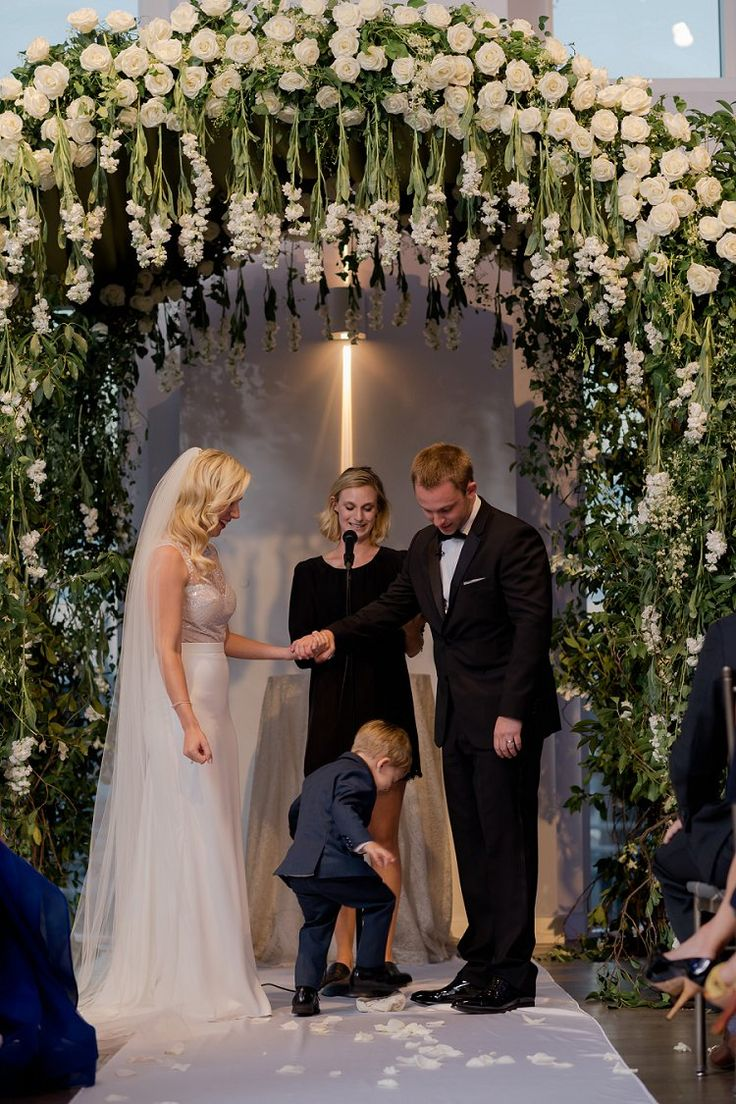 wedding ceremony new york city%0A A Julie Vino Bride for a Super Luxe Jewish Wedding with a Breathtaking  Floral Chuppah at