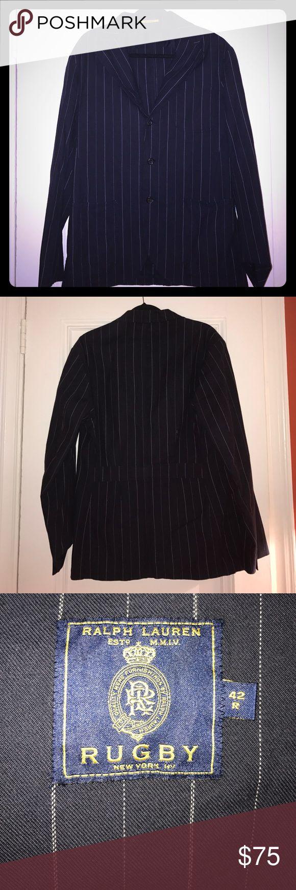 Ralph Lauren RUGBY navy pinstripe cotton blazer Ralph Lauren RUGBY navy pinstripe cotton blazer EUC Ralph Lauren Suits & Blazers Sport Coats & Blazers