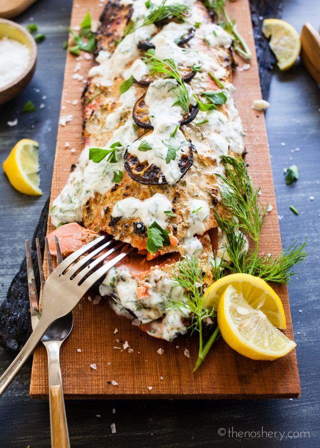 Cedar Plank Salmon with Herb Yogurt | TheNoshery.com