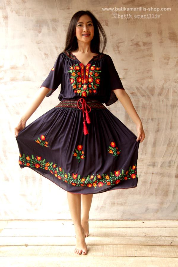 batik amarillis's smocking and embroidery Hungarian classic dress..it's beautiful, flowy, Romantic with stunning floral embroidery....