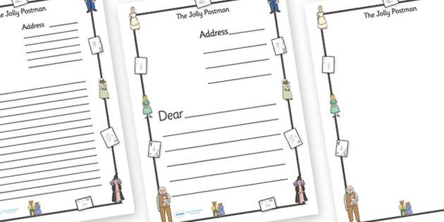 The Jolly Postman Letter Templates (A4) - blue, postman, jolly, letter, templates, Janet Ahlberg, independent writing, Cinderella, story, story book, book resources, Three Bears, wolf, gian, goldilocks, postcard, witch, palace