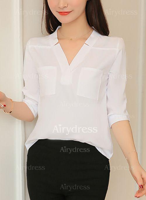 Blouses - $8.99 - Solid Elegant Cotton V-Neckline 3/4 Sleeves Blouses (1645253663)