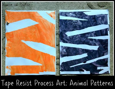 Tape Resist Process Art: Creating Animal Patterns - a fun activity to familiarize baby-preschool with patterns found in the wild!