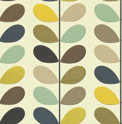 Multi Stem (110385) - Orla Kiely Wallpapers - The well known multi stem design of Orla Kiely's is here as a contemporary stylish wallpaper. Shown in multi-coloured on a off white background - more colours are available. Please request a sample for true colour match. Paste-the-wall product.