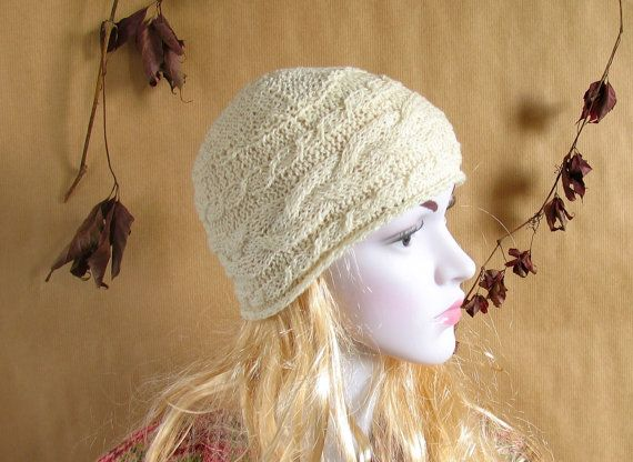 Beanie for Women, Cotton Hat in White/Cream  for Spring