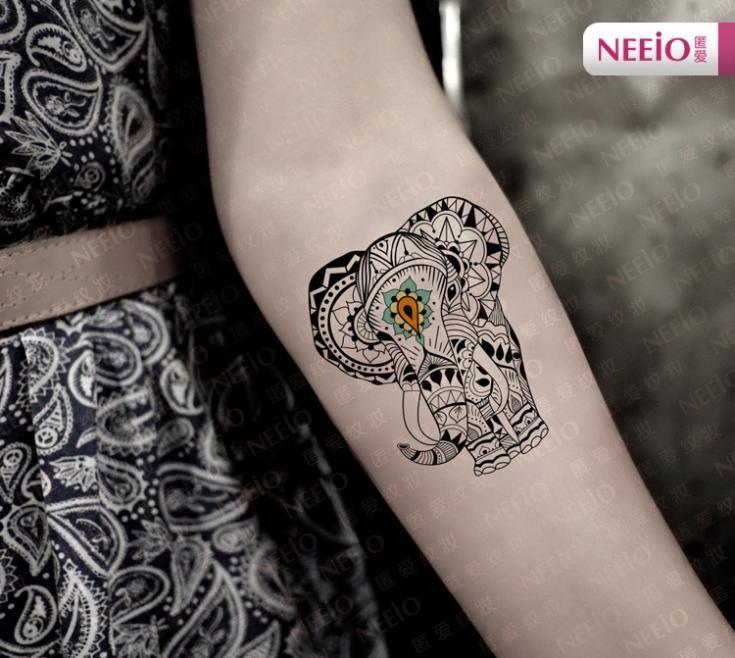 Aliexpress.com: Comprar Nuevo maquillaje tatuaje pegar misterioso elefante brazo totem pegatinas el cuerpo del tatuaje lámina impermeable patrón de hoja de soporte fiable proveedores en date of happiness