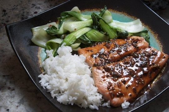 Honey Ginger Salmon with Spicy Baby Bok Choy | The Pescetarian and the Pig