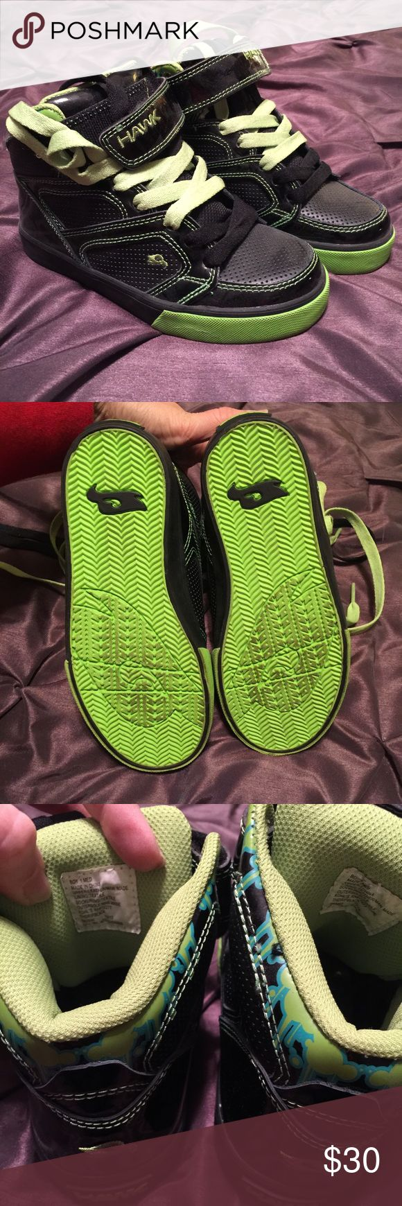 NWOT Tony Hawk Sneakers!!! Hi Top Tony Hawk sneakers w/lime green and black laces. Soon wore these one time for maybe an hour. Very cute, he just didn't like them on. True to size but may run just a little bigger. Get him ready to go ride that skateboard Tony Hawk Shoes Sneakers