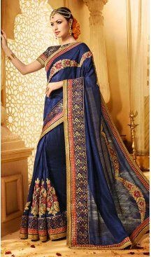 Navy Blue Color Banarasi Silk Embroidery Designer Saree | FH583986193 Follow us @heenastyle #saree #sari #sarees #sareelove #sareeindia #indiansaree #designersaree #sareeday #silksaree #lehengasaree #designersarees #sareesilk #weddingsaree #sareeblouse #sareefashion #ethnicwear #georgette #partywear #latestfashion #latestdesign #newfashionsaree #newdesigsaree #goldenbordersaree #instafashion #designersaris #heenastylesaree #heenastyle