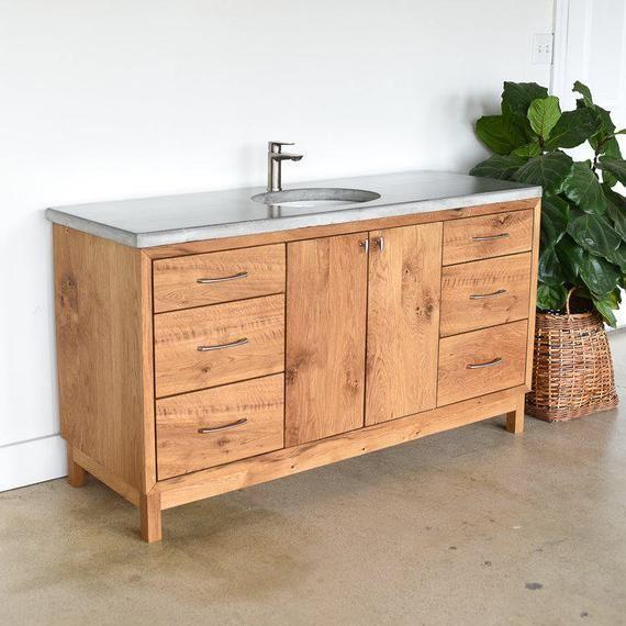 Solid Wood Bathroom Vanity 60 Mid Century Modern Vanity Made